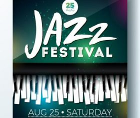 Jazz festival flyer with poster template vector