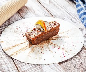 Lemon slice and chocolate cake Stock Photo