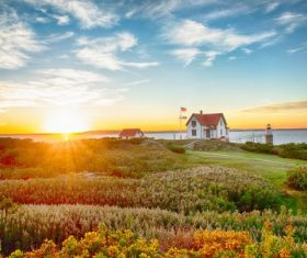 Lighthouse house and nature landscape Stock Photo
