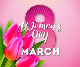 Lily with 8 much women day vector design 01