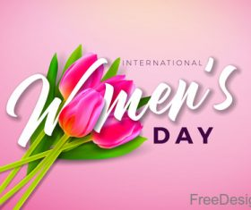 Lily with 8 much women day vector design 02