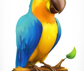 Little parrot 3d cartoon vector