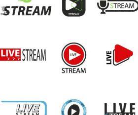 Live stream logos design vector