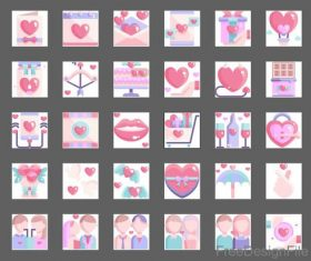 Love and Valentine color flat icons