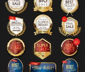Luxury premium sale golden badges and labels vector design