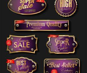 Luxury premium sale golden badges and labels vector set