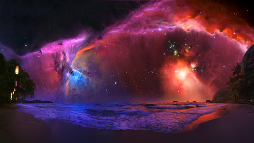 Magical nebula on the seashore sky Stock Photo