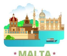 Malta travel elements design vector