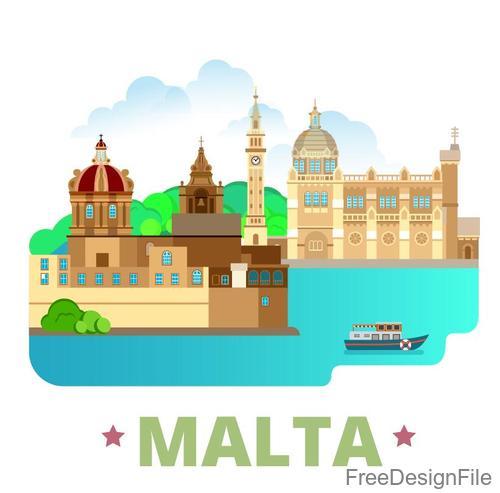 Malta travel elements design vector