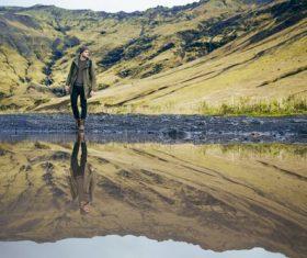 Man underwater reflection Stock Photo
