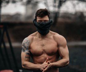 Masked muscle male Stock Photo