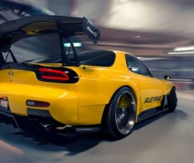 Mazda RX-7 FD  yellow sports car Stock Photo