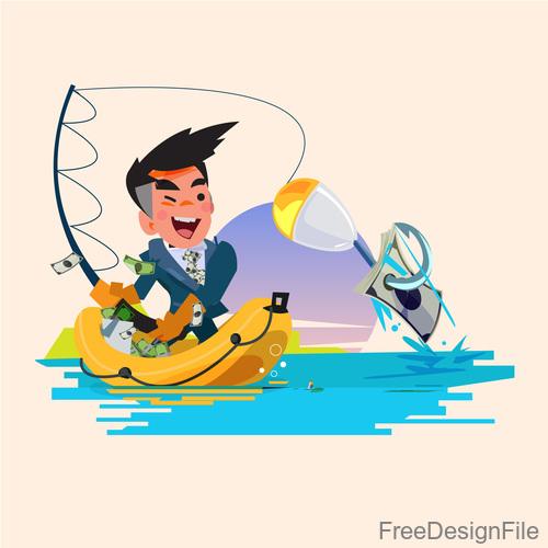Money with fishing cartoon vector design