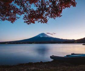 Mount Fuji lake stratovolcano
