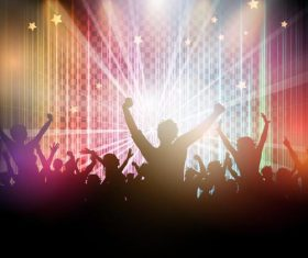 Music disco party background with people silhouetter vector 01
