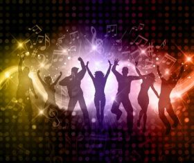 Music disco party background with people silhouetter vector 02