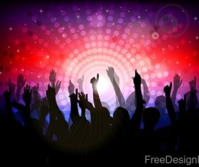 Music disco party background with people silhouetter vector 03