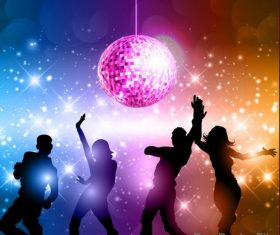 Music disco party background with people silhouetter vector 04