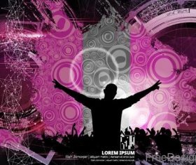Music disco party background with people silhouetter vector 05