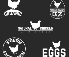 Natural chicken farm fresh logo with labels vector