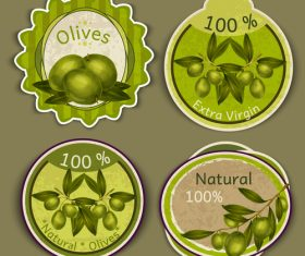 Natural olives badge vintage vector