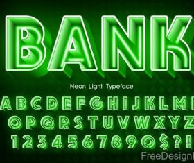 Neon light tpyeface with numbers vector
