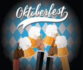 Oktoberfest Check Toasting Hands Dark vector