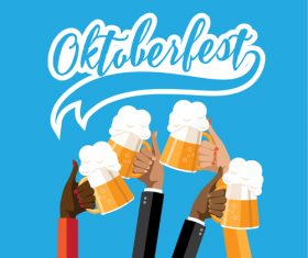 Oktoberfest Check Toasting Hands vector