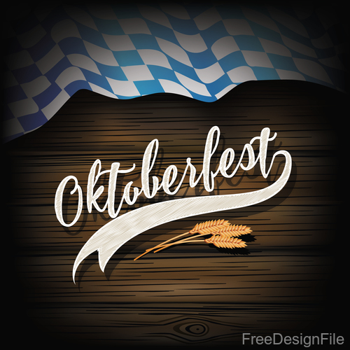 Oktoberfest Flag Wood Dark vector