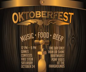 Oktoberfest Keg Poster template vector