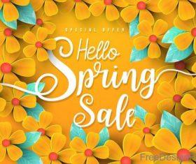 Orange flower with spring sale background vector