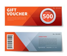 Orange gift voucher design vector