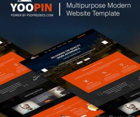 Orange with Black Modern Website PSD Design