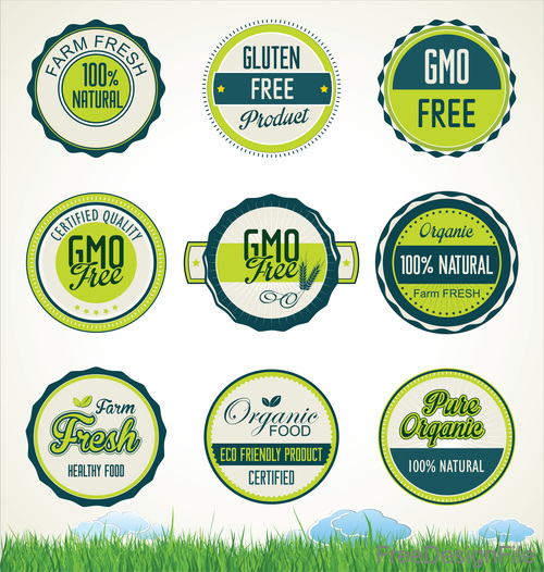 Organic food banners collection vector 01