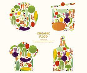 Organic food elements illustration vector