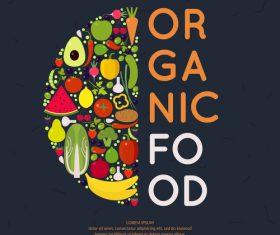 Organic food poster template vectors 01