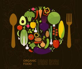 Organic food poster template vectors 02