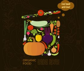 Organic food poster template vectors 03