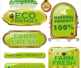 Organic with farm fresh labels vector