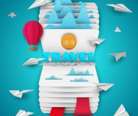 Origami with travel elements vector