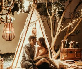 Outdoor tent couples in love Stock Photo