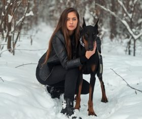 Outdoors women and great dane Stock Photo