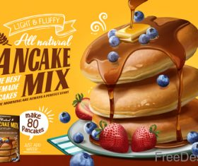 Pancake mix poster template vectors 01