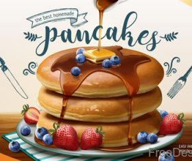 Pancake mix poster template vectors 02