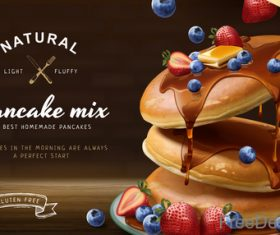 Pancake mix poster template vectors 03