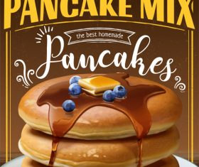 Pancake mix poster template vectors 04