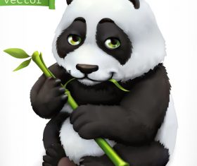 Panda bear 3d cartoon vector