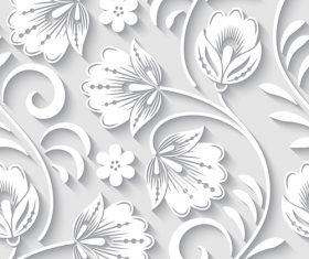 Paper-cut floral 3d seamless pattern vector 01