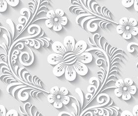 Paper-cut floral 3d seamless pattern vector 02