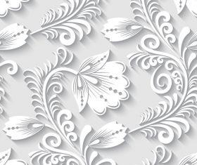 Paper-cut floral 3d seamless pattern vector 03